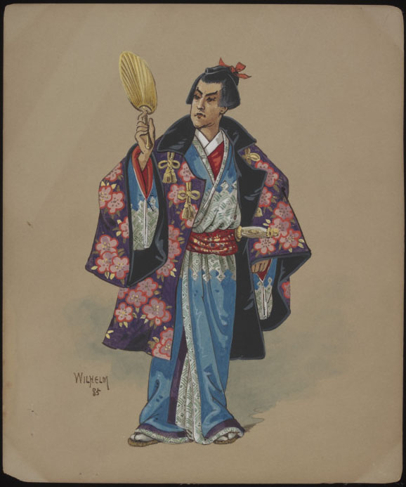 S.2893-2015 Costume design The Mikado; Costume design by Wilhelm for a Japanese Gentleman in The Mikado, Savoy Theatre 14 March 1885 Wilhelm (1858-1925) London 1885 Gouache on board