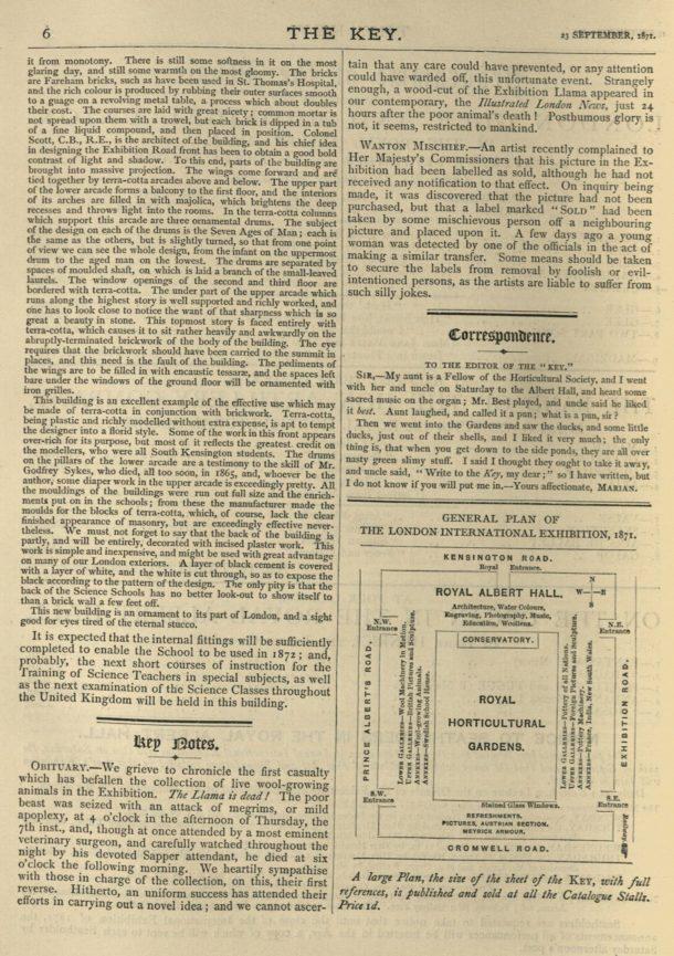The Key, Vol 1, 23 Sept 1871, p. 6. Museum No.: 38041701066839.