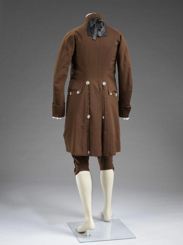 Man`s suit of coat, waistcoat and breeches, dark brown wool,