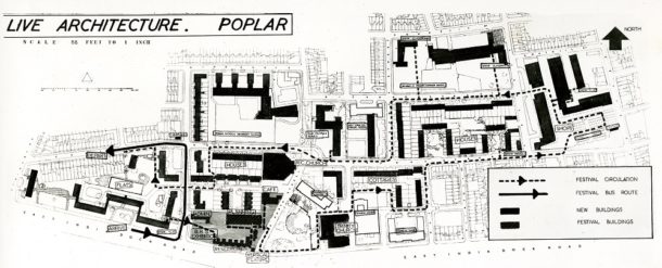 Plan showing circulation through 'Live Architecture' exhibition area and site of buildings to be erected for the Festival of Britain, 1951, Image courtesy The National Archives