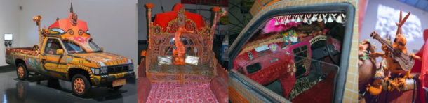 The heavily-decorated 'Tiki Love Truck' and its many wonderful embellishments