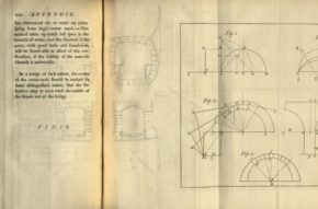 Plate I in: Short principles for the architecture of stone-bridges, by Stephen Riou. Book, published London: C. Hitch and L. Hawes, 1760. NAL: 38041800915027