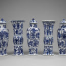 Five-piece garniture, porcelain, Jingdezhen, China, circa 1695,