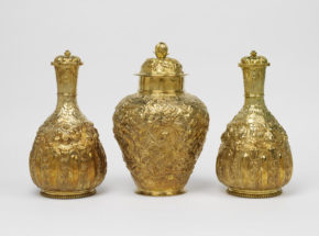 Three silver vases after Chinese shapes