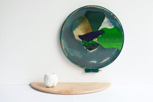 Have you seen this cup? It could be anywhere here, really. Bethan Lloyd Worthington, 2015 Porcelain, needlepoint tapestry, wood, dye