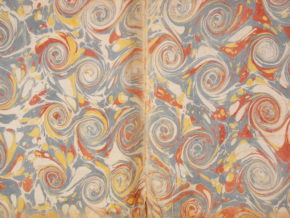 A 'snail' pattern forming the endpapers of a book from Paris, 1764.
