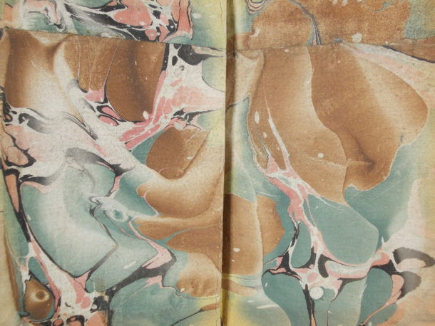 Pieced together marbled endpaper from Madrid, 1788.