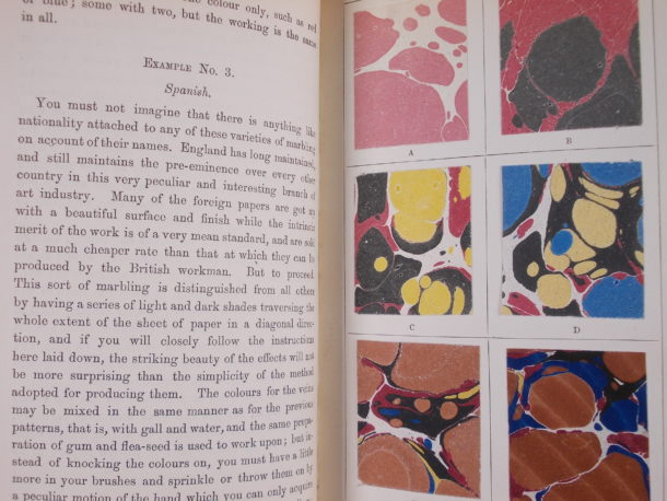 Instructions in 'The whole art of marbling' for creating the 'Spanish' pattern.