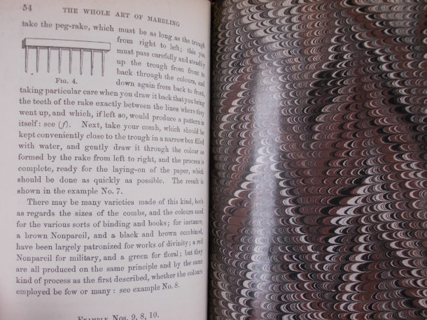 Instructions in 'The whole art of marbling' for creating the 'nonpareil' pattern.