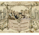 Image: The first Christmas card, commissioned by Henry Cole and designed by John Callcott Horsley, 1843  Lithograph coloured by hand.  Museum number L.3293-1987 (c) Victoria and Albert Museum