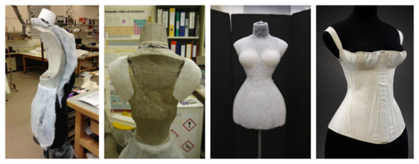 Figure 3. (V&A: T.57-1948) Mounting process for 1825-35 corset, Britain, corded and quilted cotton, silk thread and whalebone (Photography by Lilia Prier Tisdall © Victoria and Albert Museum, London)