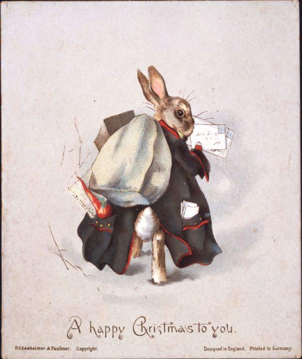 Christmas card published by Hildesheimer & Faulkner, 1890. © Frederick Warne & Co.