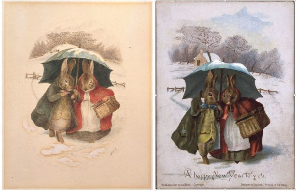 Watercolour and pen and ink design shown alongside the finished greetings card published by Hildesheimer & Faulkner, 1890. © Frederick Warne & Co.