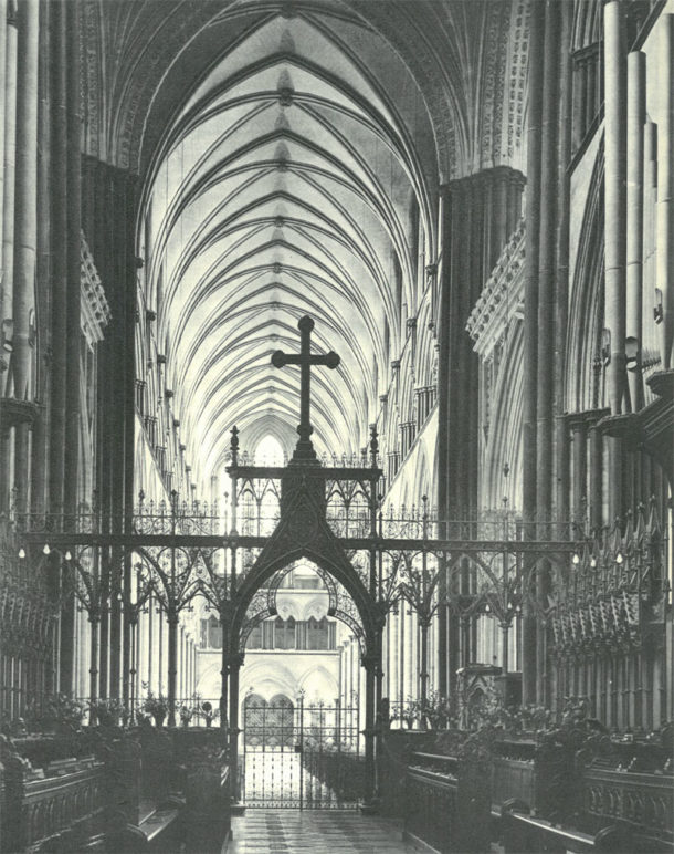 First reproduced in Jeffrey Truby, 'The Glories of Salisbury Cathedral', 1948, reproduced with kind permission of the Dean and Chapter of Salisbury Cathedral.