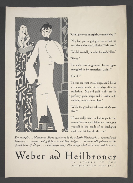 Weber and Heilbroner, advertisement, Hans Schleger, ca.1925-9