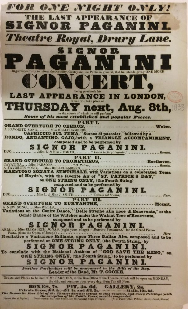 Playbill for 'The Last Appearance of Signor Paganini'
