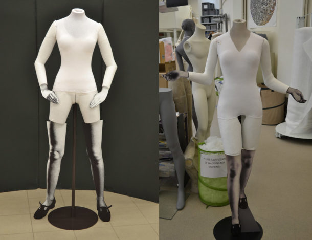 Figure 2. Left the initial prototype figure. Right a finished figure before dressing