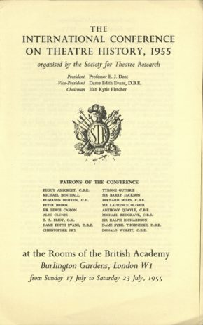 5.Programme for the International Conference on Theatre History 1955, Society for Theatre Research archive [THM/472]