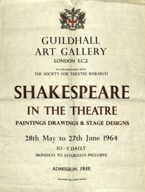 Exhibition poster for Guildhall Art Gallery, 1964, Society for Theatre Research archive [THM/472]