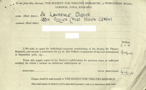 3.Receipt for membership for Lord and Lady Olivier, 1958, Society for Theatre Research archive [THM/472]