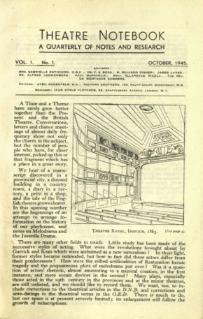 First edition of Theatre Notebook, 1945, V&A Theatre & Performance Library