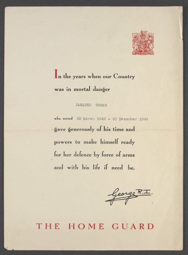 Certificate commemorating Jacques Groag's membership of the Home Guard