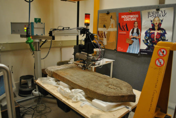 Footstone of the tomb of Nur al-Din Ibrahim (Mus.no. A.13-1933) undergoing XRF analysis Image, J. Puisto © Victoria and Albert Museum, London