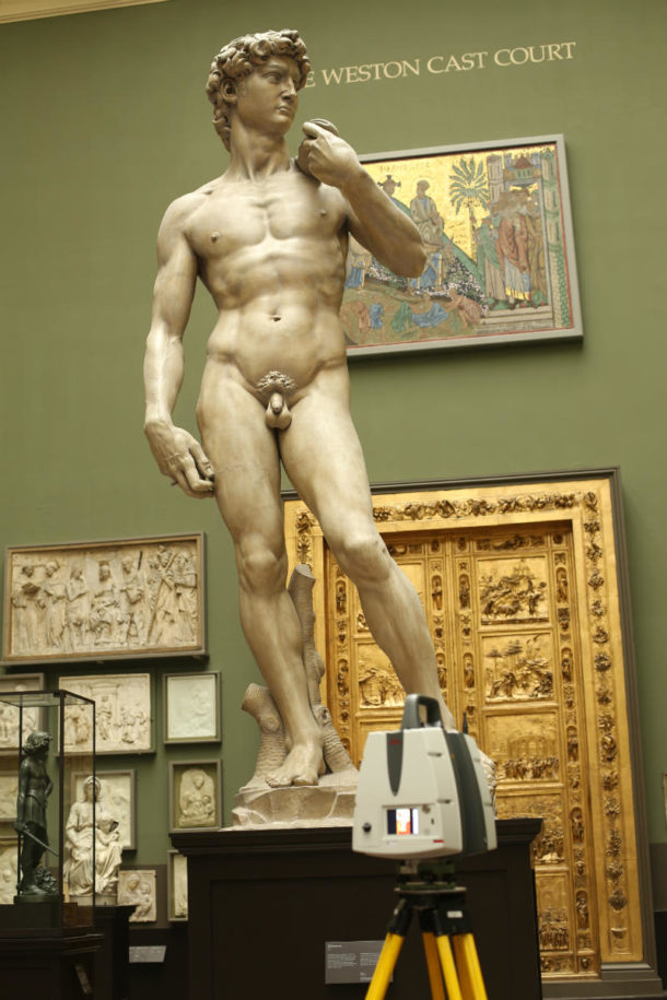 Plaster figure of Michelangelo's David (Mus.no. Repro.161-1857) during scanning at the Weston Cast Court Gallery. Image ©Plowman Craven