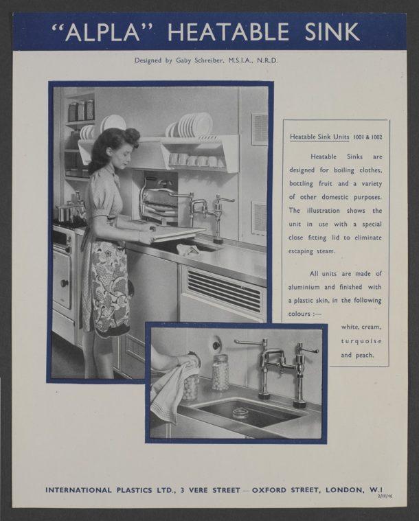 International Plastics Ltd 'Apla' sink advertisement, Gaby Schreiber