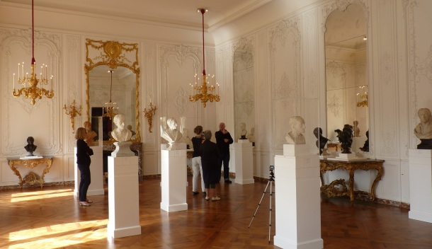 Fame and Friendship Exhibition at Waddesdon Manor, Filming Curator Malcolm Baker. Photograph By Katherine Elliott, 2014