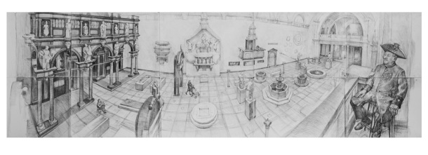 Pencil drawing of V&A New Court