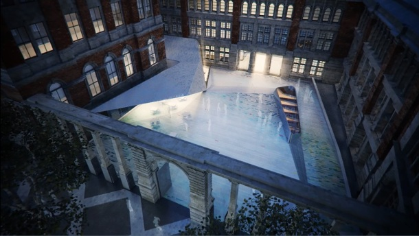 Visualisation of the new courtyard seen from above Exhibition Road