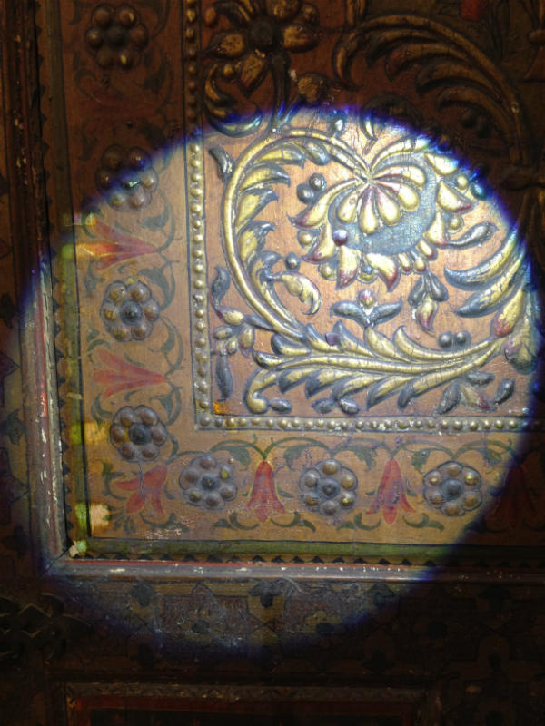 Solvent tests along the left hand border create little windows revealing the colours beneath © Victoria and Albert Museum London