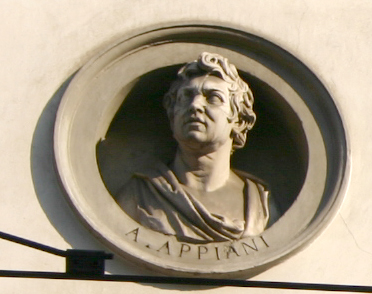 Bust of Andrea Appiani on the facade of the Palazzo Brentani, Milan. Photograph by Giovanni Dall'Orto.