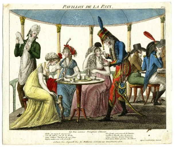A waiter in a pavilion takes orders from three fashionable ladies who are seated eating ice cream, one being fed by a soldier in uniform. 'Pavillon de la Paix'. Plate 17 of an untitled series, hand-coloured etching, France c.1801 © British Museum