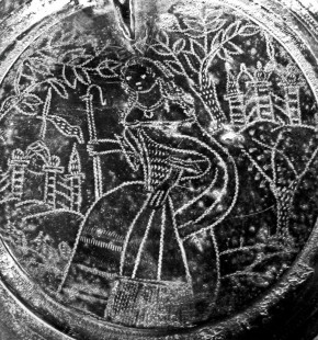 Detail of Catherine of Braganza on the 'Rolleston Tankard' in the guise of a shepherdess