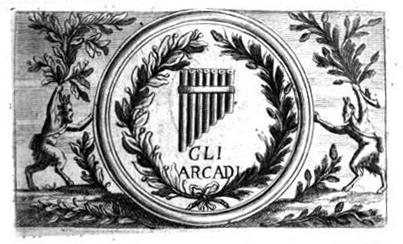 Stamp of the Academy of Arcadia, Giovanni Mario Crescimbeni, L'istoria della volgar poesia, Roma, 1714.