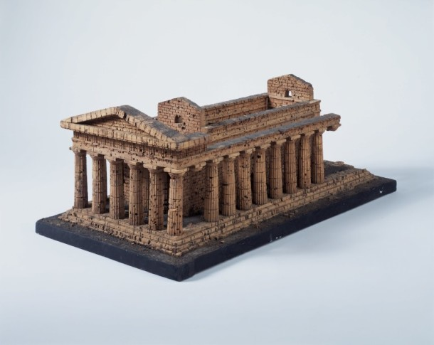 Architectural model of The Temple of Concord, Agrigento, Sicily; cork with dried moss on a wooden base; Probably Italian; Early 19th century © Victoria and Albert Museum, London