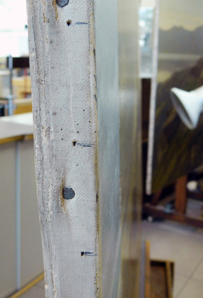 Detail of pencil marks on the tacking margins of the painting