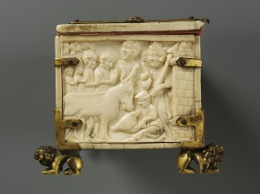 View of PR side of ivory casket A.45-1935, showing St. Eustace being martyred inside a brazen bull © Victoria and Albert Museum, London