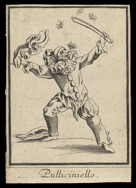 Pulliciniello, the Commedia dell'Arte servant, Engraving by Jacques Callot, about 1622. Museum no. S.5290-2009. © Victoria and Albert Museum, London
