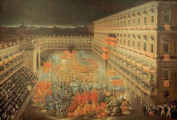 Celebrations for Christina of Sweden at Palazzo Barberini (Rome) on 28 February 1656.  Gabinetto Comunale delle Stampe, Rome, Italy.