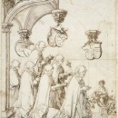 Design for a stained glass window, pen and ink and red chalk drawing by Hans Baldung Grun, German, ca. 1508.