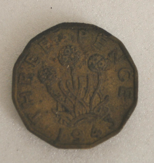 Three pence from 1943, found at the bottom of the Certosa Window.