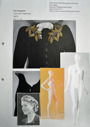 Work sheet with mannequin and wig information for the Schiaparelli Dress and Jacket ensemble