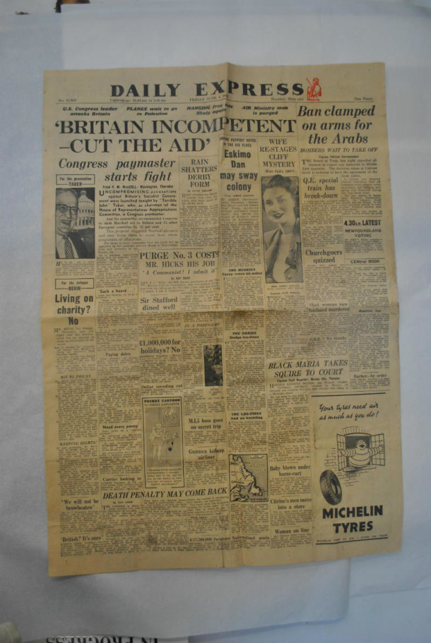 Daily Express dated Friday June 4 1948 found behind the Misericordia relief Daily Express dated Friday June 4 1948 found at the back of the Misericordia relief © Johanna Puisto, Victoria and Albert Museum, London.
