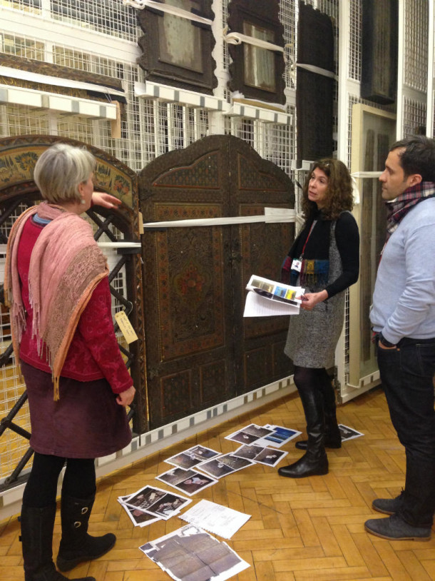 Anke Scharrahs discussing the panels with V&A conservators Victor Borges and Charlotte Hubbard ©Mariam Rosser-Owen