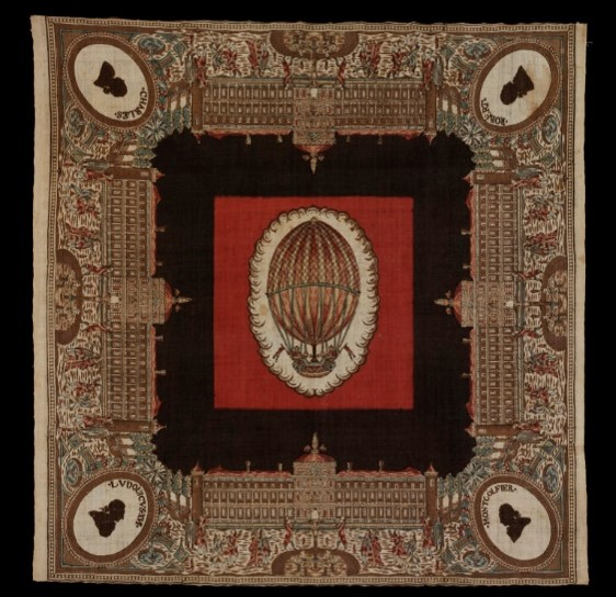 Handkerchief commemorating the first ascent of a hydrogen-filled balloon at the Tuileries, Paris, block-printed cotton, ca.1783. Museum no. 1872-1899 © Victoria and Albert Museum