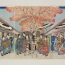 Japanese print by Shigenobu (Hiroshige II) depicting Nakano Street in the Yoshiwara district of Edo (Tokyo) during cherry blossom season.