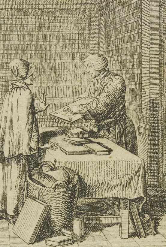 Detail from 'A Book Lover', one of a set of twelve prints entitled 'Folies à la mode'. Etching, Daniel Nicolaus Chodowiecki, Germany, 1788 V&A E.411-1934 © Victoria and Albert Museum, London